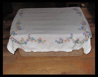 Hand embroidered linen tablecloth
