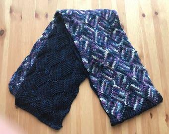 Entrelac scarf, scarf, wool scarf, hand knit scarf, blue scarf