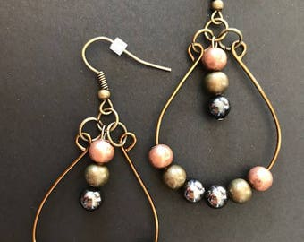 Antique brass teardrop hoops with metal beads