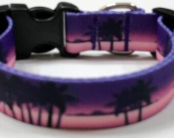 Palm Trees/Tropical Polyester Webbing Adjustable Dog Collar: HawaiianPet Supply/Gift, Vet Item,Pet Accessories,Botanical/Garden/Cruise