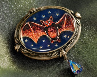 Bat Pin, Bat Brooch, Halloween Pin, Halloween Jewelry, Bat Jewelry, Halloween Bat, Bat, Halloween Brooch, Vampire Pin, Vampire Jewelry P334