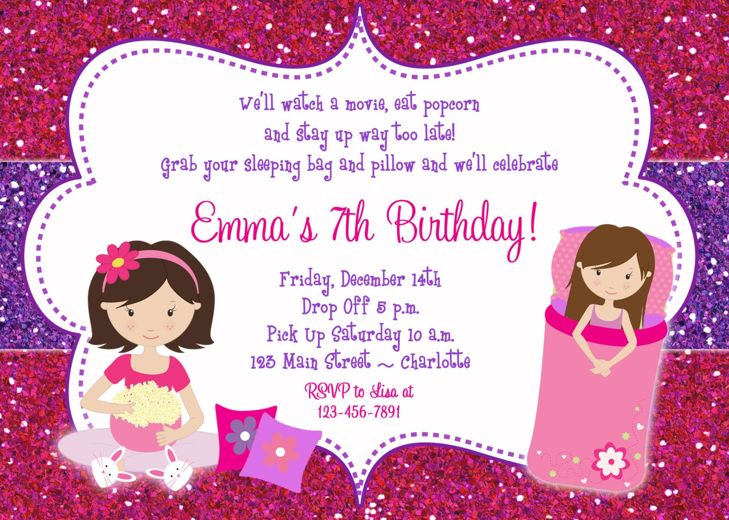 slumber party birthday invitation pajama party sleepover