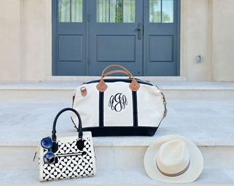 Weekender - Monogrammed Weekender Bag - Canvas Weekender Women - Leather Handle Bag - Gift for Her
