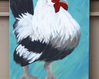 Black & White Rooster on Bluel: Original Acrylic Painting on Stretched Canvas, 11x14 inches