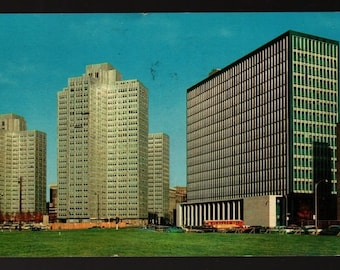 Gateway Center and State Building – Pittsburgh, Pennsylvania + 1959  – Vintage Ektachrome Postcard