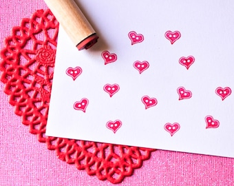 Heart ButtonRubber Stamp