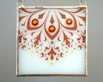 Floral Fused Glass Suncatcher White Brown Romantic Lace