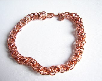 Copper bracelet, Chain maille Helm Weave Bracelet, copper bracelet, copper chain maille