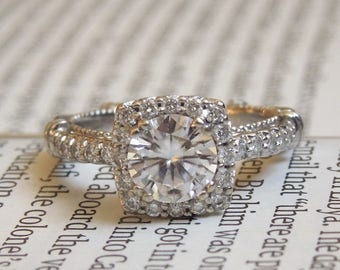 1 carat Forever One Moissanite with Square Halo in Milgrained Mounting