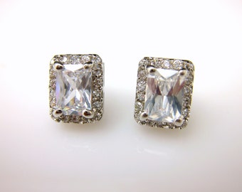 bridal earrings wedding jewlery prom party bridesmaid earrings rectangle emerald cut cubic zirconia post white gold silver earrings stud