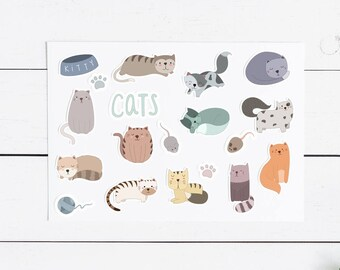 Cat Sticker Pack- 18 Stickers, Planner, Journal, Snailmail