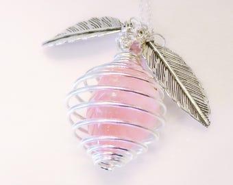 Rose Quartz in Spiral Cage Pendant Necklace
