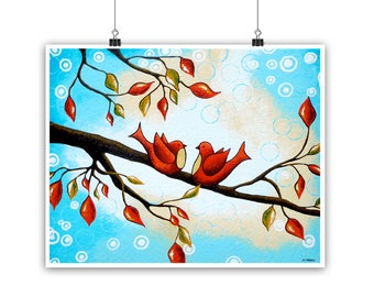 Red Love Birds on a Branch Wall Art Print, Romantic Wedding Gift for Couple, Bedroom Decor