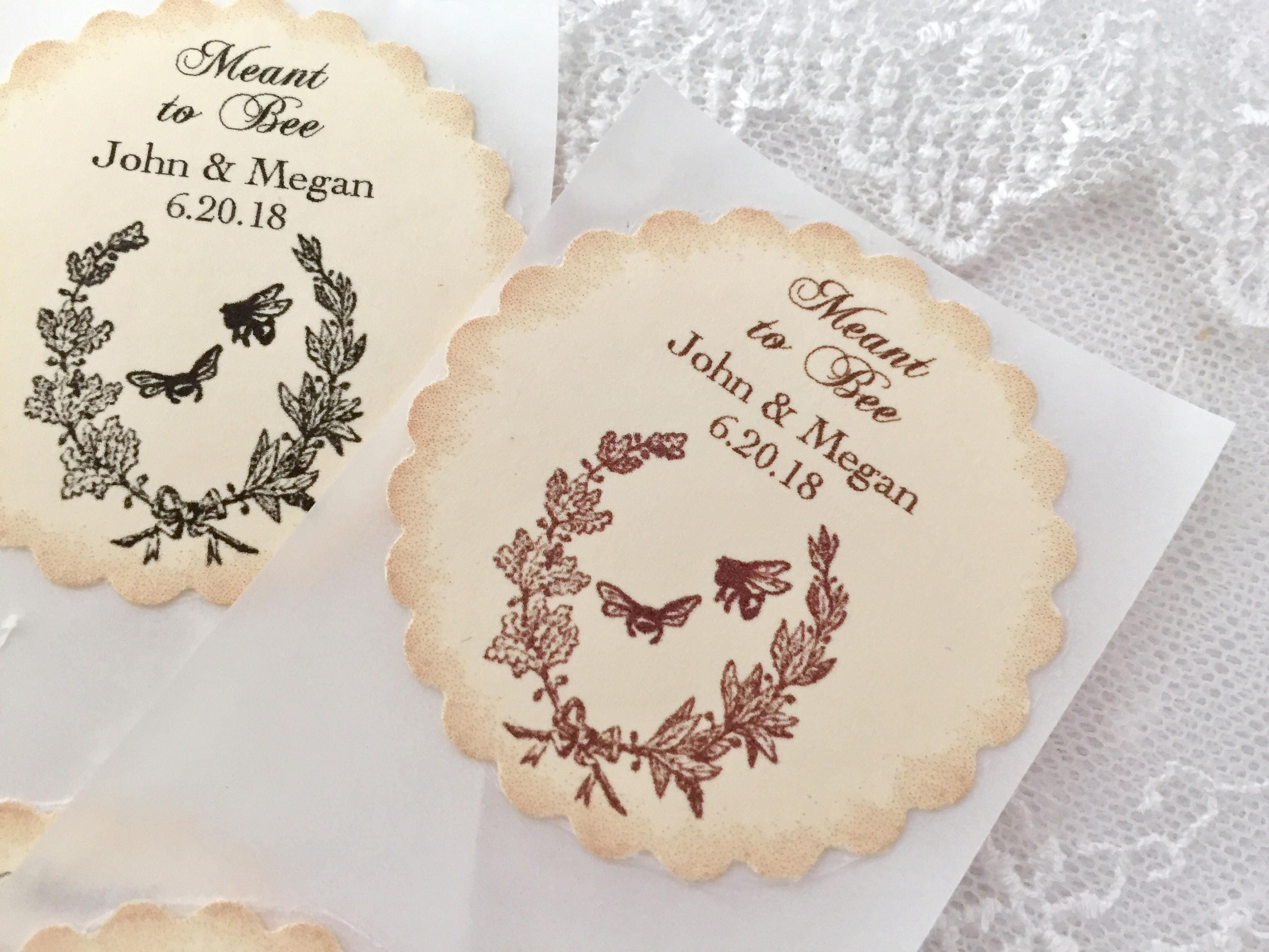 Meant to Bee Stickers Bee Favor Stickers Honey Wedding