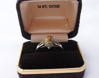 Vintage Rhinestone Ring 1950s Mid Century Retro Costume Jewelry Size 7