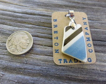Historic Charleston Broken China Necklace- Artifact Jewelry, Blue, Black, White stripes, one of a kind