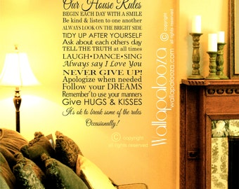 Our House Rules Wall decal - Family Rules Wall decal - In this house wall decal - Family decal - Love Wall Decal - Wallapalooza Wall Decals