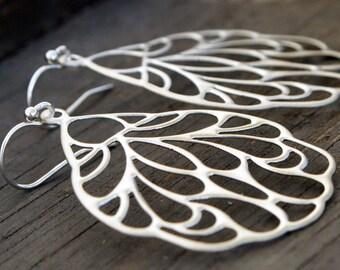 Butterfly Wing  Earrings, Silver Butterfly Wing Dangle Earrings, Silver Wing Drop Earrings, Butterfly Jewelry