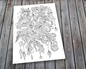 Adult Colouring Page Doodle, Printable Colouring Pages Dangle Zen Doodle Art