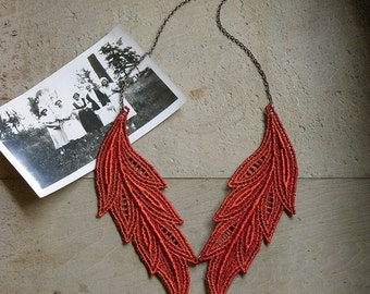 brick red lace necklace // MUSE // boho necklace / short necklace / lace jewelry / gift for women / lace collar / unique necklace