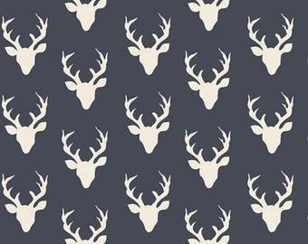 Woodland Cotton Fabric-Tiny Buck Forest Twilight -Hello Bear - Art Gallery- Navy,Deer,Baby,Nursery