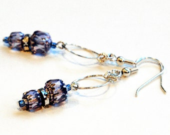 Lilac Blue Hoop Earrings, Wineglass Charm Hoops, Pale Blue Czech Glass with Silver Accents, Boho Style Swinging Charm Small Hoop Earrings