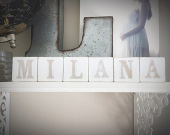 Baby Name Blocks - Wooden Letter Blocks - Baby Shower Gift - Photo Prop - Hand Painted Neutral Gray/Grey and White- Vintage Look