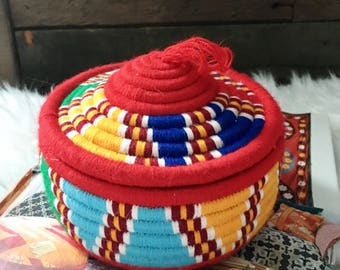 Vintage Coiled Lidded Basket