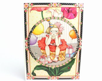 Vintage 1992 Mary Engelbreit Happy Birthday Greeting Card - Hope Your Day is Full of Fun - Girl Glasses Party Celebration Balloons Presents