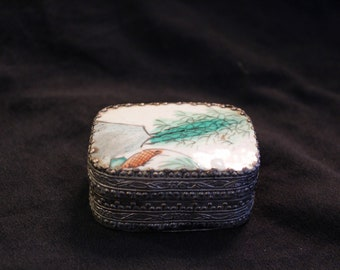 Silver-Tone and Enamel Koi Box
