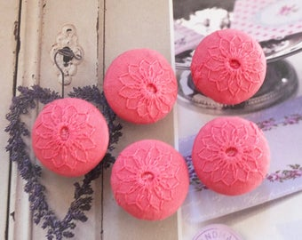 Chic Embroidery Watermelon Pink Sunflower Daisy Floral Flowers-Handmade Fabric Covered Buttons(5Pcs, 0.75 Inches)