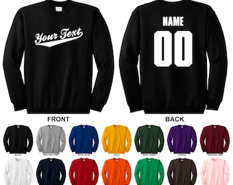 Personalized custom your text name and number crewneck sweatshirt, Baseball Script
