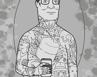 "Neotraditional Tattooed Hank Hill King of the Hill Print by Kevin Thrun - 5""x7"" - Epson Cold Press Paper"