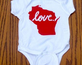 Wisconsin Love Baby Bodysuits