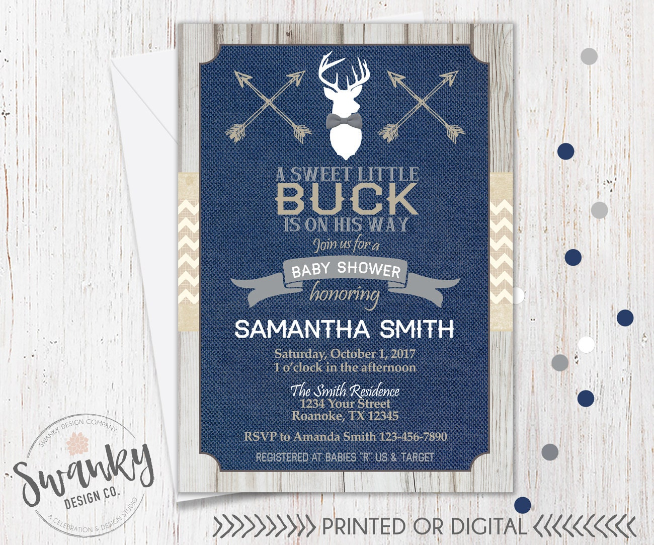 Rustic Deer Baby Shower Invitations Navy and Burlap Baby