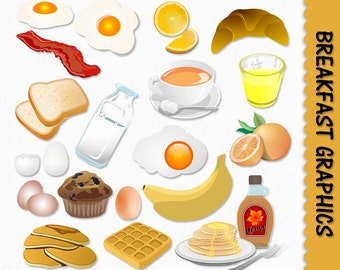 Breakfast Food Clip Art Graphics Clipart Scrapbook Muffin Egg Toast Milk Pancakes Maple Syrup Digital Download PNG Vector Commercial Use
