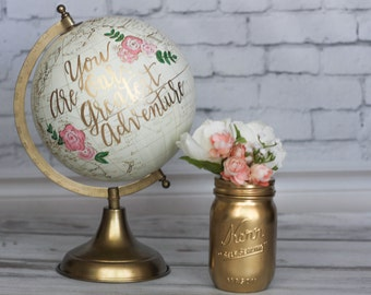 You Are Our Greatest Adventure, Large, Ivory and Gold, Nursery Decor, Painted Globe, World Globe, Nursery Globe, Girl's Nursery Decor