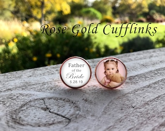 Father of the Bride Cufflinks - ROSE GOLD - father of the bride - Photo Cuff Links - Wedding Cufflinks - Picture Cuff Links - wedding gift