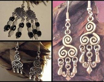 Brittany 3 Silver Metal Celtic inspired earrings models