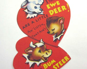 Vintage Children's Novelty Valentine Greeting Card with Cute Deer Lamb and Bull