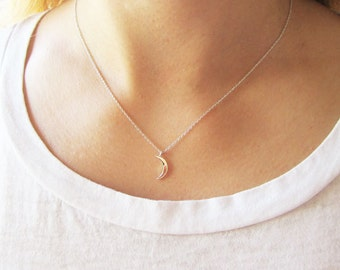 Crescent moon necklace/moon charm necklace/celestial necklace/silver crescent moon necklace/moon necklace/graduation gift