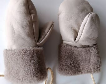 Leather mittens for kids | Warm gloves | 1,5 - 3,5 years old |  Cozy and warm |