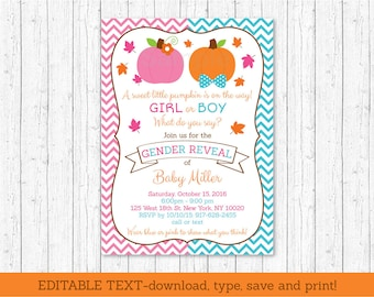 Pumpkin Gender Reveal Invitation / INSTANT DOWNLOAD Editable PDF A195