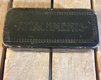 Vintage Sewing Attachments and Tin