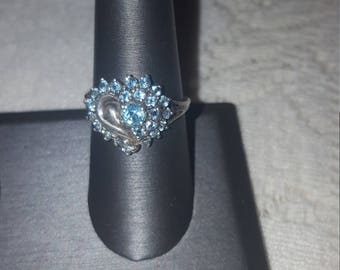 Vintage Aquamarine Heart Shaped Ring, set in 925 Sterling Silver. Size 7.