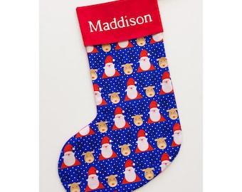 Handmade Santa and reindeer Christmas stocking