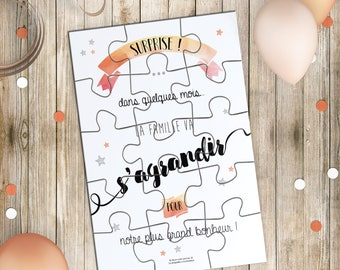 Birth announcement - Map Puzzle and its cover surprise - original baby announcement