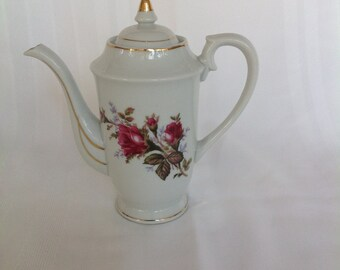 Vintage Moss Rose Teapot Coffee pot Made In Japan