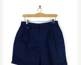 ON SALE Vintage Dark Blue High waist  Flare Shorts from 1980's/ W28