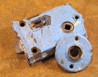 Shabby Victorian Door Rim Latch w Bolt & Knob Rosette Plate - BLW Branford - VINTAGE BLUE - Distressed Antique Hardware
